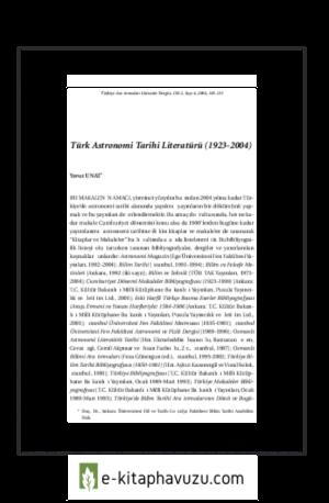 Yavuz Unat - Türk Astronomi Tarihi Literatürü 1923 2004