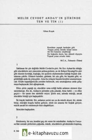 Orhan Koçak - Melih Cevdet Anday'ın Şiirinde Ten Ve Tin - I