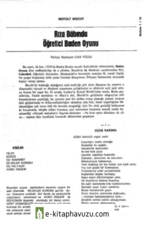 Riza Babinda Ogretici Baden Oyunu Bertolt Brecht